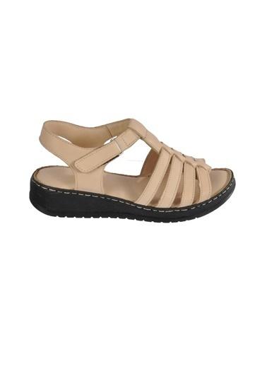 Ayakmod 339 Siyah Kadın Sandalet Krem